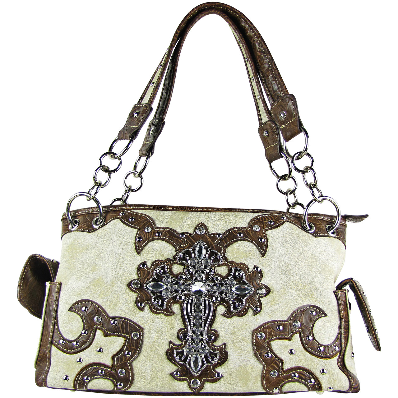 BEIGE WESTERN STUDDED RHINESTONE CROSS DESIGN LOOK SHOULDER HANDBAG HB1-KW15RBEI