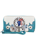 TURQUOISE AMERICAN FLAG EAGLE LOOK ZIPPER WALLET CB3-1218TRQ