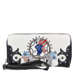 BLACK AMERICAN FLAG EAGLE LOOK ZIPPER WALLET CB3-1218BLK