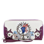 PURPLE AMERICAN FLAG EAGLE LOOK ZIPPER WALLET CB3-1218PPL