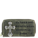 GRAY BIBLE VERSE STUDDED RHINESTONE CROSS LOOK ZIPPER WALLET CB3-0410GRY