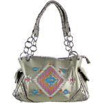 SILVER TRIBAL STITCHED SHOULDER HANDBAG HB1-CHF102SLV