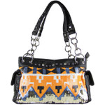 ORANGE SEQUENCE TRIBAL STITCHED SHOULDER HANDBAG HB1-CHF1096ORG