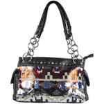 BLACK SEQUENCE TRIBAL STITCHED SHOULDER HANDBAG HB1-CHF1096BLK