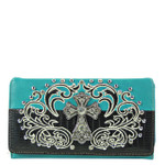 TURQUOISE RHINESTONE STUDDED CROSS LOOK WITH SWIRL DESIGN CHECKBOOK WALLET CB1-0428TRQ
