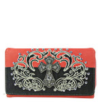 HOT PINK RHINESTONE STUDDED CROSS LOOK WITH SWIRL DESIGN CHECKBOOK WALLET CB1-0428HPK