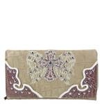 BEIGE STUDDED RHINESTONE CROSS LOOK WITH WINGS DESIGN CHECKBOOK WALLET CB1-0429BEI