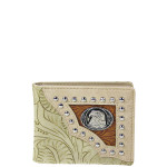 BEIGE WESTERN TOOLED STUDDED EAGLE MENS WALLET MW1-0452BBEI