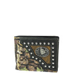 BLACK MOSSY CAMO WOLF WESTERN TOOLED LOOK MENS WALLET MW1-0461BLK