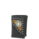 BLACK CROCODILE LEATHERETTE JESUS MENS TRIFOLD WALLET MW3-0406BLK