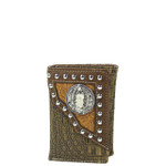 BROWN CROCODILE LEATHERETTE JESUS MENS TRIFOLD WALLET MW3-0406BRN