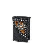 BLACK BULL CROCODILE LEATHERETTE LOOK TRIFOLD WALLET MW3-0408BLK