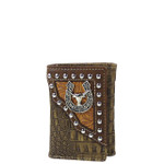 BROWN BULL CROCODILE LEATHERETTE LOOK TRIFOLD WALLET MW3-0408BRN