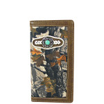 BROWN MOSSY CAMO WESTERN BLUE STONE MENS CHECKBOOK WALLET MW2-0484BRN