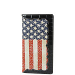 BLACK AMERICAN FLAG LOOK MENS CHECKBOOK WALLET MW2-0485BLK