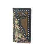 BLACK MOSSY CAMO WESTERN TOOLED MENS CHECKBOOK WALLET MW2-0486BLK