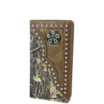 BROWN MOSSY CAMO WESTERN TOOLED MENS CHECKBOOK WALLET MW2-0486BRN