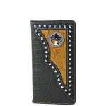 BLACK CROCODILE LEATHERETTE CROSS WITH HORSE WESTERN MENS CHECKBOOK WALLET MW2-0487BLK