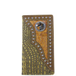 BROWN CROCODILE LEATHERETTE CROSS WITH HORSE WESTERN MENS CHECKBOOK WALLET MW2-0487BRN