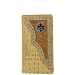 BEIGE CROCODILE LEATHERETTE CROSS WITH HORSE WESTERN MENS CHECKBOOK WALLET MW2-0487BEI