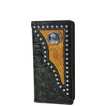 BLACK EAGLE TOOLED LEATHERETTE WESTERN MENS CHECKBOOK WALLET MW2-0488BLK