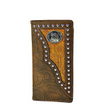 BROWN EAGLE TOOLED LEATHERETTE WESTERN MENS CHECKBOOK WALLET MW2-0488BRN