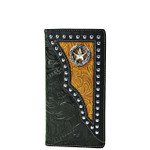 BLACK STAR TOOLED LEATHERETTE WESTERN MENS CHECKBOOK WALLET MW2-0489BLK