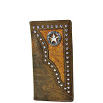 BROWN STAR TOOLED LEATHERETTE WESTERN MENS CHECKBOOK WALLET MW2-0489BRN