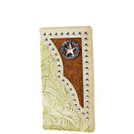 BEIGE STAR TOOLED LEATHERETTE WESTERN MENS CHECKBOOK WALLET MW2-0489BEI