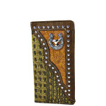 BROWN CROCODILE TOOLED LEATHERETTE HORSESHOE WITH BULL WESTERN MENS CHECKBOOK WALLET MW2-0491BRN