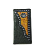 BLACK CROCODILE TOOLED LEATHERETTE SKULL WESTERN MENS CHECKBOOK WALLET MW2-0492BLK