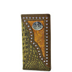 BROWN CROCODILE TOOLED LEATHERETTE SKULL WESTERN MENS CHECKBOOK WALLET MW2-0492BRN