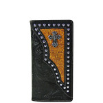 BLACK TOOLED LEATHERETTE CROSS WESTERN MENS CHECKBOOK WALLET MW2-0493BLK