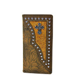 BROWN TOOLED LEATHERETTE CROSS WESTERN MENS CHECKBOOK WALLET MW2-0493BRN