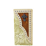 BEIGE TOOLED LEATHERETTE CROSS WESTERN MENS CHECKBOOK WALLET MW2-0493BEI