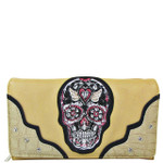 BEIGE STUDDED COLORFUL SKULL LOOK DESIGN CHECKBOOK WALLET CB1-1283BEI