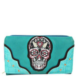 TURQUOISE STUDDED COLORFUL SKULL LOOK DESIGN CHECKBOOK WALLET CB1-1283TRQ