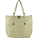GOLD FLAT STUDDED DESIGN LOOK SHOULDER HANDBAG WITH ATTACHABLE POUCH HB1-153GLD