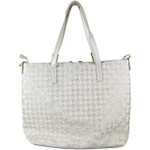 BIEGE FLAT STUDDED DESIGN LOOK SHOULDER HANDBAG WITH ATTACHABLE POUCH HB1-153BEI