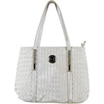 BIEGE FLAT STUDDED DIAMOND DESIGN LOOK SHOULDER HANDBAG WITH ATTACHABLE POUCH HB1-189BEI