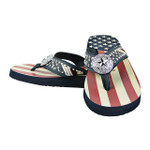BLACK AMERICAN FLAG STUDDED STAR FASHION FLIP FLOP FF1-S066-1BLK
