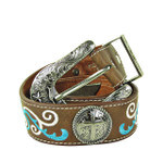 BROWN CROSS WITH STITCHING GENUINE LEATHER STONE BELT LB1-2009BRN