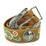 TAN CROSS WITH STITCHING GENUINE LEATHER STONE BELT LB1-2009TAN