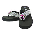 HOT PINK FLOWER RHINESTONE FASHION FLIP FLOP FF1-F102HPK