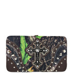 BROWN MOSSY CAMO STUDDED RHINESTONE CROSS WITH WINGS LOOK FLAT THICK WALLET FW2-04131BRN