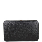BLACK OSTRICH LEATHERETTE LOOK FLAT THICK WALLET FW2-3608BLK
