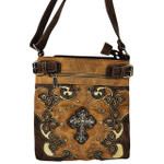 BROWN STUDDED RHINESTONE CROSS WITH PATCHWORK LOOK MESSENGER BAG MB1-M28LCRBRN