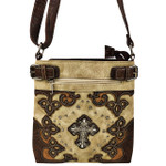 BEIGE STUDDED RHINESTONE CROSS WITH PATCHWORK LOOK MESSENGER BAG MB1-M28LCRBEI