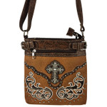 BROWN STUDDED RHINESTONE CROSS WITH PATCHWORK LOOK MESSENGER BAG MB1-W46CRBRN