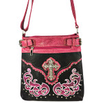 HOT PINK STUDDED RHINESTONE CROSS WITH PATCHWORK LOOK MESSENGER BAG MB1-W46CRHPK